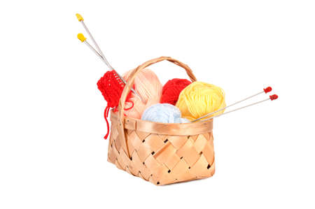 spoke: wooden basket with woolly thread and spoke for knitting