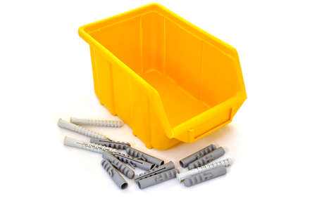 dowel: Plastic yellow box for dowel