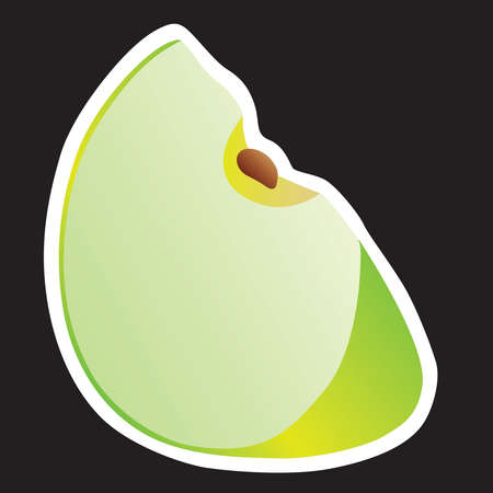 Lobule green apple on a black background - vector