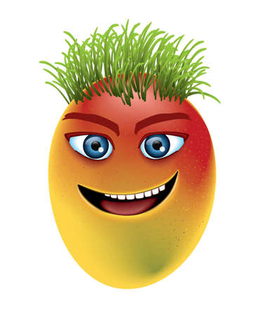 brow: Mango with laughing eyes and green hairs