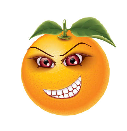 fervent: Orange with fervent eyes and crooked mouth Illustration