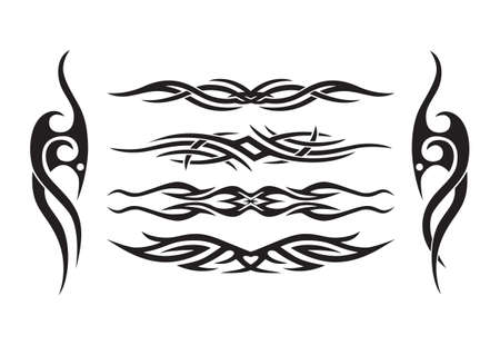 horizontal: Horizontal symmetrical level tattoo set