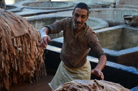 Marrakech, Morocco November 19, 2012. Leather tanners guild in Marrakech, Moroco. Editorial