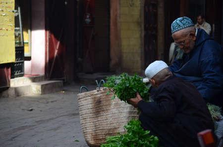 Marrakech, Morocco November 19, 2012. Herb seller in the Medina of Marrakech Editorial