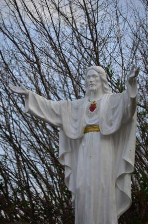 742014 San Sebastian de Garabandal. Cantabria. Spain. Sculpture of the Sacred Heart