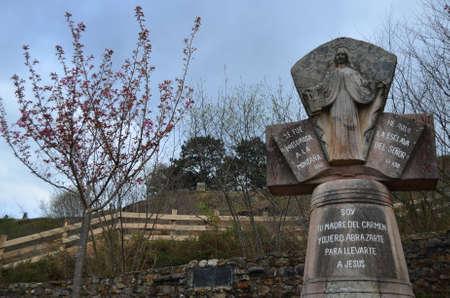 742014 San Sebastian de Garabandal. Cantabria. Spain. Stone sculpture of the Virgin