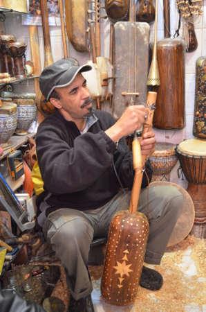Marrakech, Morocco November 25, 2012 Shop of handmade musical instruments in Marrakech, Morocco. Editorial