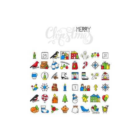 Big collection of Christmas icons. Collection New Year symbols including the fireplace and Christmas tree. Vector icons.