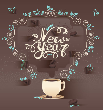 Aromatic coffee with the inscription New year. Greeting card. Ilustração
