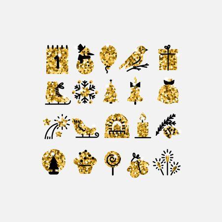 Golden icons New year and merry Christmas set vector. Illusztráció
