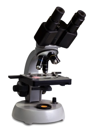 objectivism: Classical microscope isolated on a white background