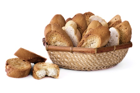 integral oven: a basket with several slices of bread isolated on white background