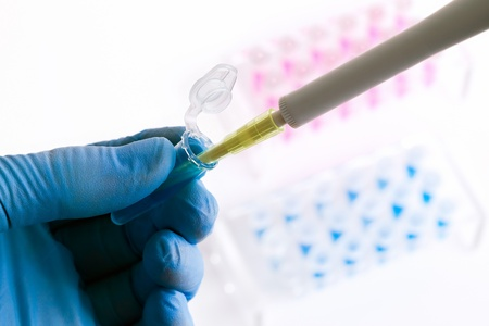 a scientist work by placing a sample in a tube 免版税图像