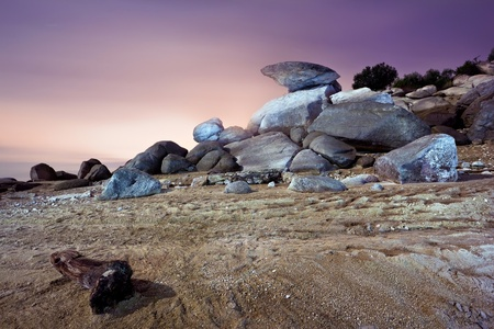 alien landscape: rocky landscape in the sunset
