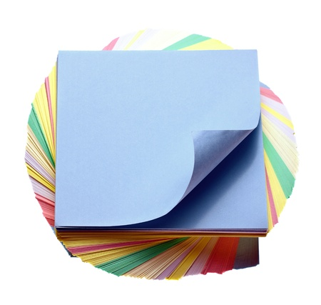 sheets of colored paper to make notes Stock Photo