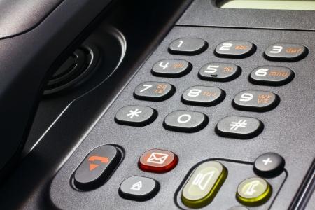 close-up di scrivania nera telefono VoIP Archivio Fotografico