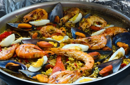 typical Spanish paella in the pan Stock Photo