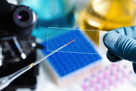 microscope: científico diapositiva mano preparando para el microscopio