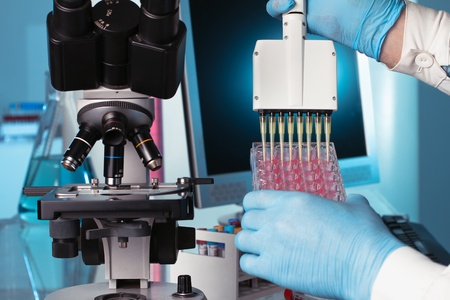 scientist depositing genetic samples in a plate photo