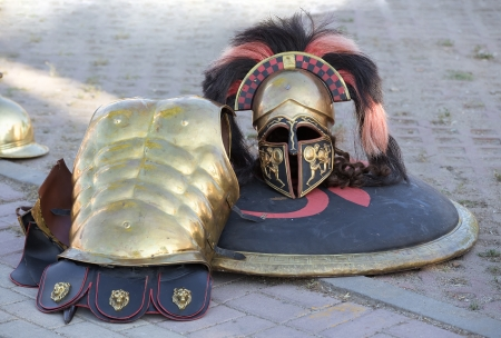 greco roman: helmet and breastplate of a Spartan Soldier uniform Stock Photo
