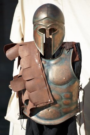 greco roman: helmet and breastplate of a Spartan Corinthian Soldier uniform