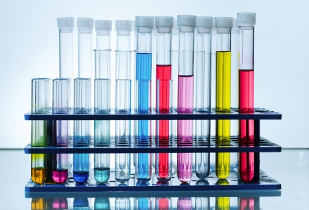 rack with chemical test tubes with colored fluid in laboratory blue background photo