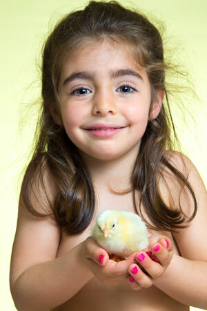 portrait of Cute girl holding little yellow chick in background yellow photo