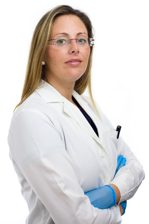 lab technician: proud medical doctor woman with arms crossed, Isolated in white background