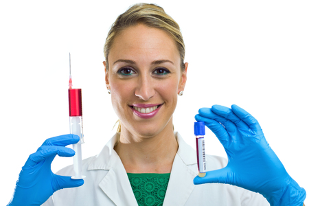 nurse taking a blood sample tube and syringe isolated in white background photo
