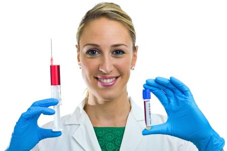 nurse taking a blood sample tube and syringe isolated in white background photo
