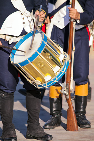 musket: Military drummer and soldier armed with musket  Stock Photo