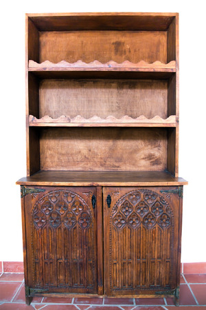 antique furniture wooden doors carved with empty shelves photo