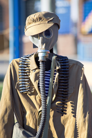 Old Russian equipment of the Second World War to environmental disasters with gas mask  Russian uniform of defense for chemical attacks in wwii photo