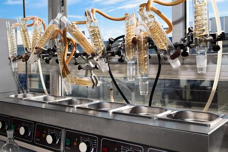 condenser: reflux condensing equipment in a laboratory  reflux condenser