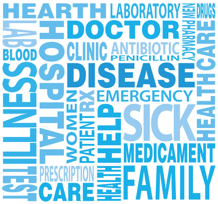 word cloud: tag cloud and words related to disease  disease word cloud concept Stock Photo