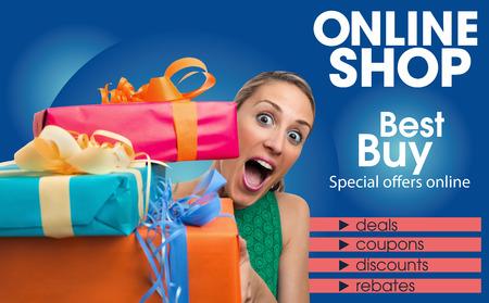 Plantilla de diseño del folleto genérico para la tienda folleto resumen en línea para compras en comercio electrónico Foto de archivo - 51237214