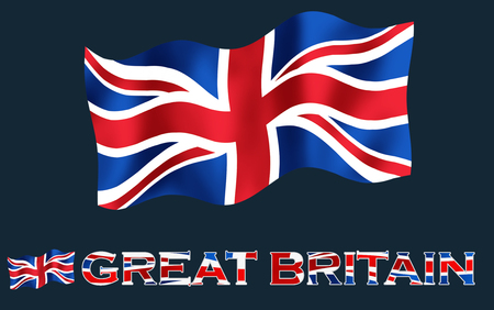 great britain flag: United Kingdom flag with Great Britain text and copypace  Great Britain flag with Great Britain text and black space