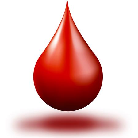 druppel bloed op witte achtergrond druppel bloed Stockfoto