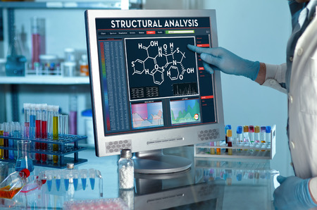 analyzing data scientist in the laboratory with a screen project development  researcher touching the screen of report of structural analysis