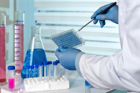 científico que trabaja en un laboratorio farmacéutico ingeniero / biomédica trabajar con microplaca en el laboratorio