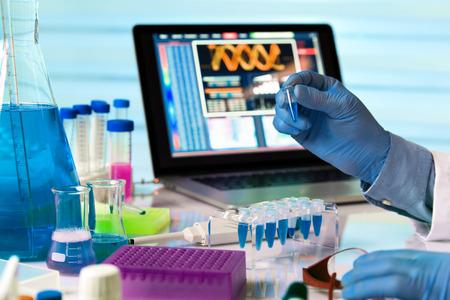 genetica: scienziato in possesso di tubo e lavorando con il portatile in genetica laboratorio  ingegnere che lavora genetica in laboratorio Archivio Fotografico