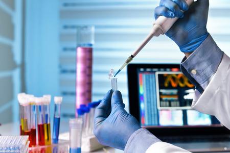 científico sostiene el tubo y el trabajo con ordenador portátil en el laboratorio de genética / manos del ingeniero que trabaja en el laboratorio de genética