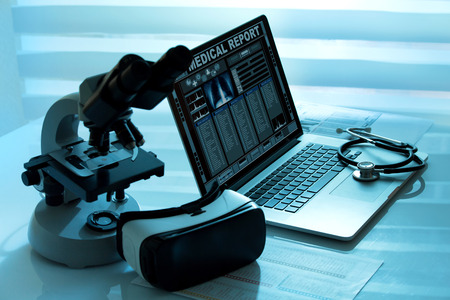 ar: Laptop with remote diagnostic medical equipment  Virtual reality equipment in the laboratory
