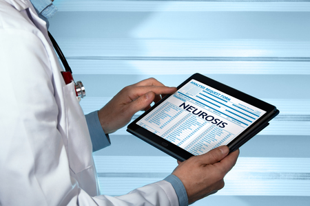 neurosis: psychiatrist consulting medical record with neurosis diagnostic  neurologist with neurosis diagnosis in digital medical report Stock Photo