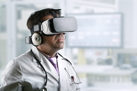 Doctor wearing virtual reality glasses conducting a remote clinical consultation  Doctor with virtual reality glasses