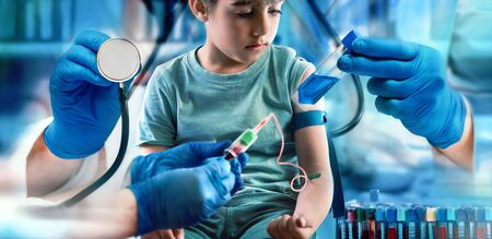 pediatric medical diagnostic concept. - around child patient is the hand of a doctor with a stethoscope, two hands performing a blood test and a hand that delivers a bottle of medicine  children health care concept Checkup pediatrician