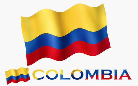 Colombian emblem flag with text and copypace. Colombian flag illustration with Colombia text and white space