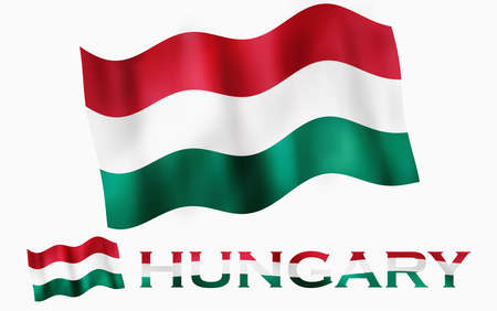 Hungarian emblem flag with text and copypace / Hungary flag illustration with Hungary text and white space