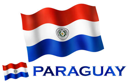 Paraguayan emblem flag with text and copypace. Paraguayan flag illustration with Paraguay text and white space