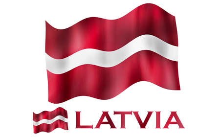 Latvian emblem flag with text and copypace. Latvian flag illustration with Latvia text and white space